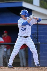 """Chase Raffield digs in during a game earlier this season. The red- shirt junior says the team plays """"Two Ball"""" and """"Speed Ball"""" while waiting for the clouds to clear. Photo courtesy of Georgia State Athletics."""