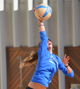 Sarah Agnew serves up a powerful volley during a Friday practice. Photo by Mark Valle | The Signal