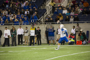 Wil Lutz kicking off after a Georgia State drive during the Autonation Cure Bowl. Photo By Jade Johnson|The Signal