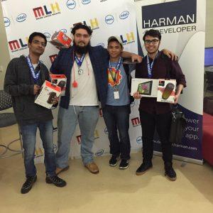 Winners of 2016 HackGSU (left to right) Ankush Chauhan, Darran Hall, Paul Trimor, Haroon Qahtan.  Photo by Chante Foster | The Signal