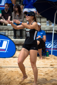 An excited Milani Pickering celebrates during a match against Eckerd College at the GSU Beach Volleyball Complex, March 25, 2016. Photo by Dayne Francis | The Signal