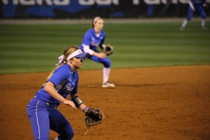 Kensey Caldwell prepares to field a ball in the infield. Photo By | The Signal