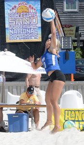 Jansen Button, prepares for a spike in the AVCA National Championships in Gulf Shores, Alabama, May 5, 2015.  Photos Submitted by Georgia State Athletics