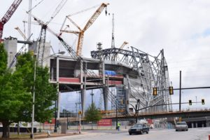 The Mercedes Benz Stadium's will have a seating capacity of approximately 71,000 for football fans and is set for a grand opening soon in the upcoming year 2017. Photo by Tammy Huynh | The Signal