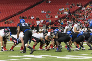 Georgia State defense lines up against Ball State on Sept. 2 in the Georgia Dome. Photo by Dayne Francis | The Signal
