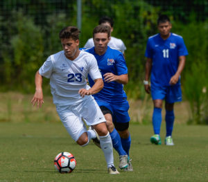 Midfielder Hannes Burmeister runs down the field on the attack for another goal during a game against University of Memphis,  Aug 28.  Photo Submitted by Georgia State Athletics