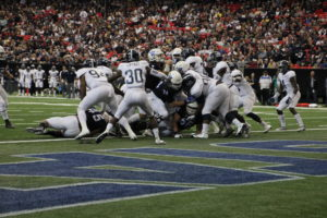 Quarterback Conner Manning sneaks in the end zone in the first quarter of the Georgia State vs. Georgia Southern match up on Nov. 19 in the Georgia Dome. Photo By Woody Bass | The Signal