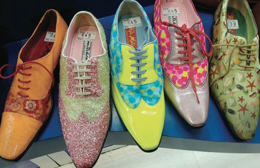 Photo courtesy of Richard Owen   Colorful shoes are the best way to put some pep in your step.