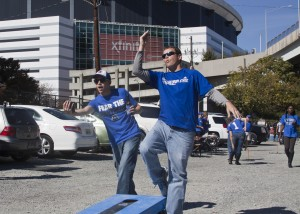 Panthers fans play cornhole in the Georgia Dome parking lot before a Georgia State football game in 2012. Chris Shattuck | THE SIGNAL