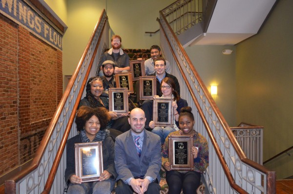 Signal staffers pose with their awards at the annual Georgia College Press Association convention Feb. 2 in Athens, Ga.