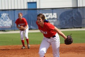 Freshman Katie Worley winds up during a Fall 2012 game. Photo courtesy of Georgia State Athletics.