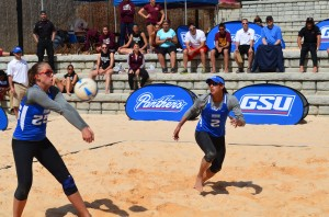 Katie Madewell recieves a shot during the Georgia State Sand Invitational on April 7. Madewell and teammate Lane Carico (No. 2), won the Gold Bracket of the event. Rhett Lewis | THE SIGNAL