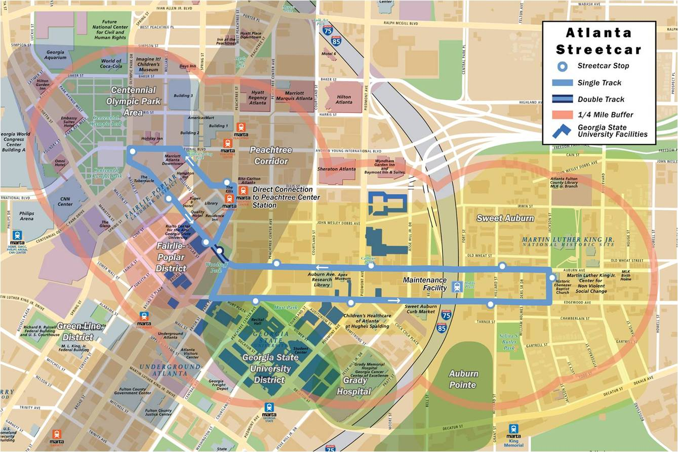 Atlanta Streetcar Route Map Atlanta Streetcar to be finished by next April   The Signal