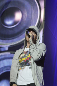 Eminem headlined the second day of Music Midtown, performing his major hits.