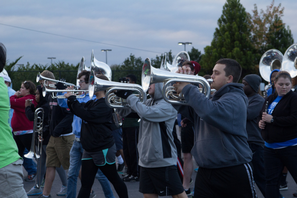 """The marching band has been planning and practicing for the parade since their invitation was received in the Spring."""" PHOTO BY RUTH PANNILL   THE SIGNAL"""