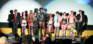 """The shadow cast of Lips Down on Dixie stands for their final bow after a performance of the """"Rocky Horror Picture Show."""" Photo by Marc Valle  