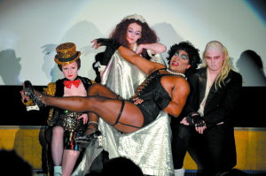 """A veteran among the Lips Down on Dixie cast, Jevocas """"Java"""" Greene (Center) embraces his eccentric role as Dr. Frank-N-Furter. Photo by Marc Valle  