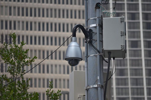 Security cameras are installed by the Atlanta Police Department on the corner of Piedmont Avenue and Auburn Avenue, along with many other areas. Photos by Marc Valle   The Signal