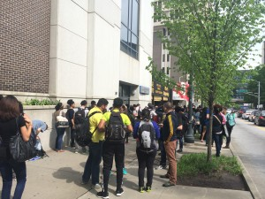 Students gathered outside the Natural Science Center after having to evacuate the building due to the campus power outage and fire alarm. | Photo by Ruth Pannill, The Signal