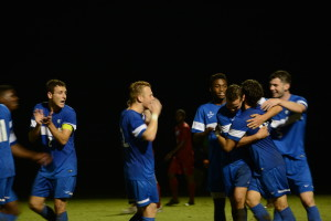 Georgia State men soccer team celebrate after scoring a goal against Appalachian State. Photo by: Jade Johnson