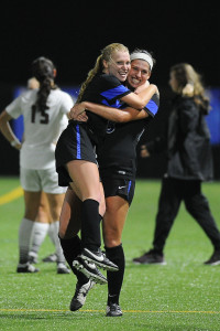 The Women's soccer team congratulate each other with excitement after scoring. They beat Texas State and Troy University. Submitted by Georgia State Athletics
