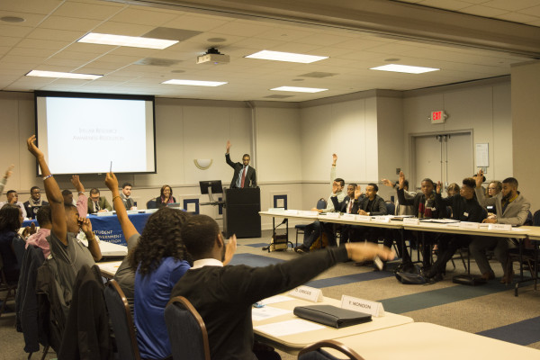 Amidst lobbying for new legislation and inducting an election commission, Georgia State's SGA Senate took time to discuss campus safety. Photo by Sean Keenan | The Signal