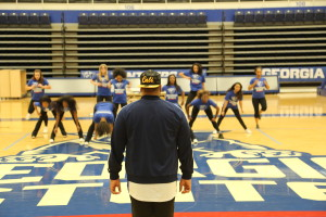 The Georgia State Cheerleaders go through a routine at practice. Feb. 15, 2016.  Photos by Jason Luong | The Signal