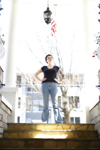 Amy Stufflebeam, co-founder of the Bleux Stockings society, stands in front of The Highland Inn where their next showcase will be, March 6th, Friday, 2016 Photo by Jason Luong | The Signal