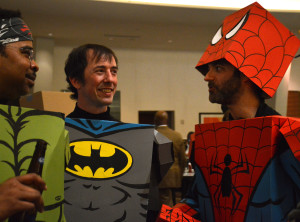 Ryan Walton, left, and his cardboard heroes have a conversation at Pulse Bar inside the Atlanta Marriott Marquis, March 5, 2016. Photo by Jade Johnson | The Signal