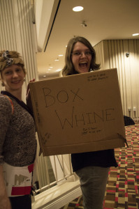 """Cardboard Con 2016 attendee wears a cardboard """"box whine"""" as her costume, March 5, 2016. Photo by Jade Johnson 