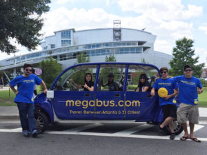 "Megabus has started a ""gotcha rides"" campaign around Georgia State's campus. Photo Submitted by Megabus"