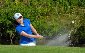 Jooeun Bae drives the ball out the bunker during a practice. Photos Submitted by Georgia State Athletics
