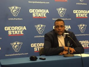 Coach Hunter speaks to the media after loss to UMass. Hunter and four players had the flu during the Dec. 28 match up. Photo By Rashad Milligan |The Signal