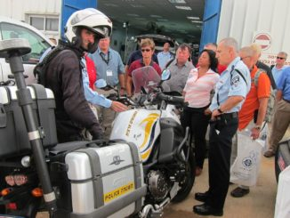 A GILEE delegation is briefed at the Israeli Police Academy
