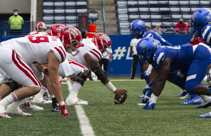 Georgia State defense lines up against Louisiana La-Fayette during the home opener at Center Parc Stadium. Photo by Matt Siciliano-Salazar | The Signal